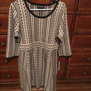 Nina Leonard Geometric print Fit&flare Swtr dress